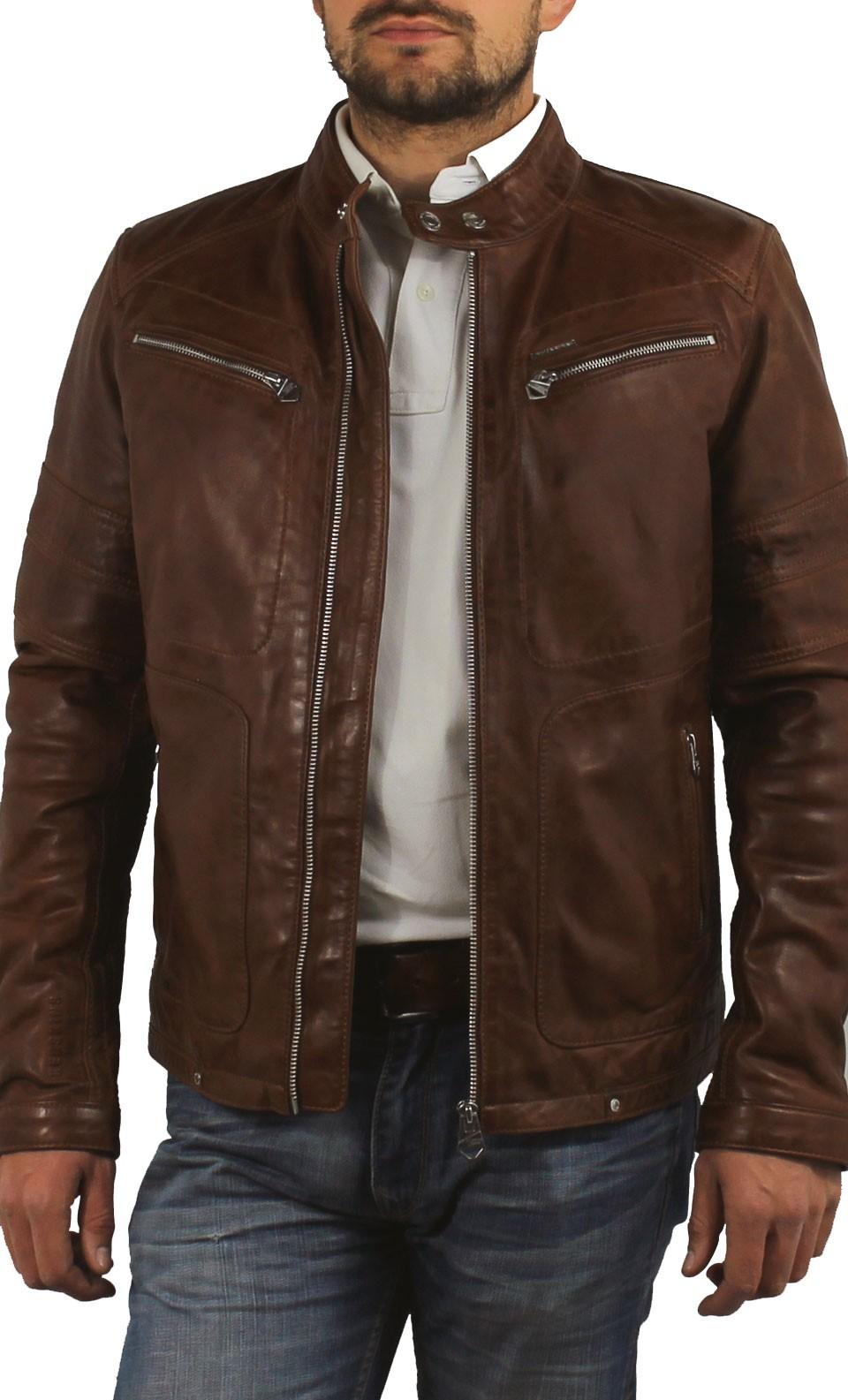 Blouson cuir ninety 6 noir/marron ixon