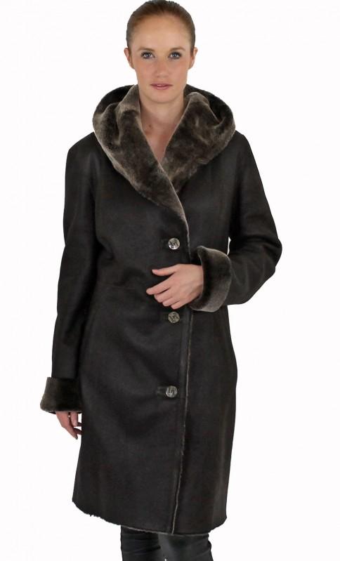 manteau elyz capuche peau lain e agneau audrey elyz. Black Bedroom Furniture Sets. Home Design Ideas